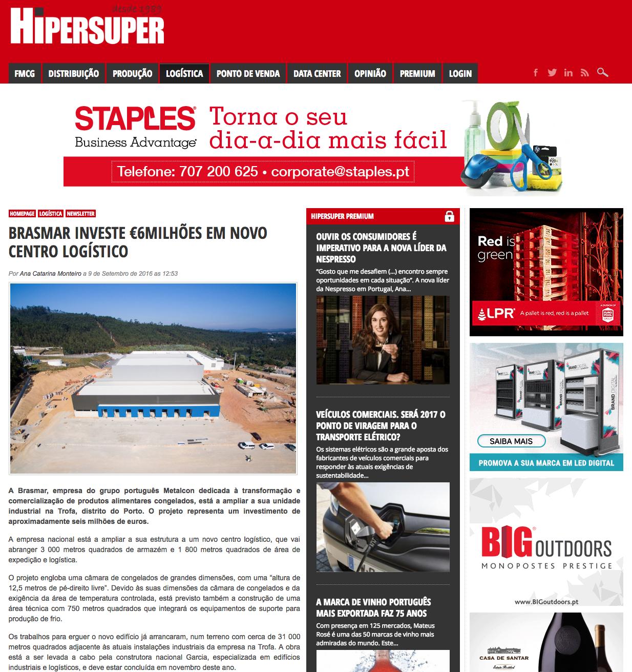 Brasmar investe €6Milhões em Novo Centro Logístico – Hipersuper