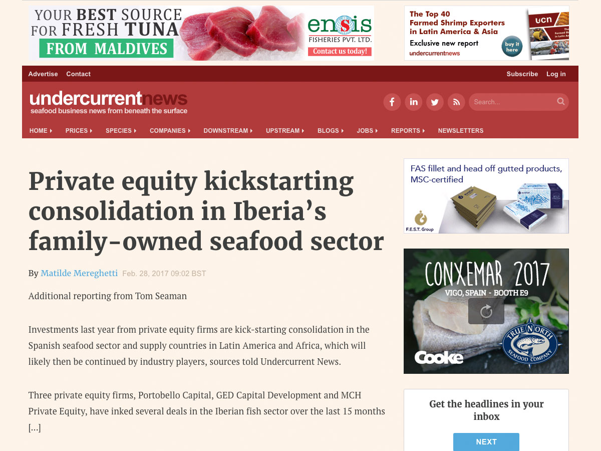 Private equity kickstarting consolidation in Iberia's family-owned seafood sector – Undercurrentnews